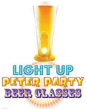 Light Up Peter Party Beer Glass Clear